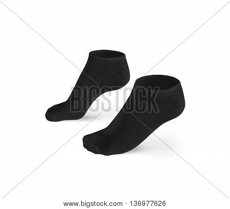 Blank black short socks design mockup, isolated, clipping path. Pair gray sport cotton socks wear mock up. Small clear soft sock stand presentation. Male female dark grey plain socks template.