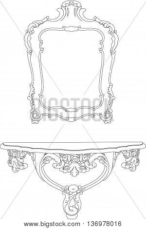 3D rendering mirror interior, isolated on white background