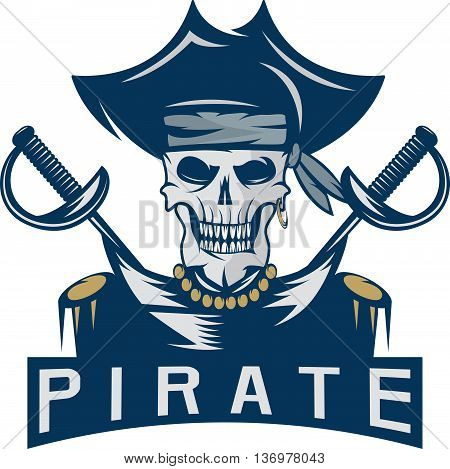 Skull Captain Pirate In Hat With Swords Vector Design Template