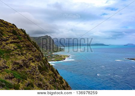 Oahu Hawaii North Shoreline where North and South Meet. Viewing Highway 72
