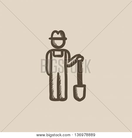 Farmer with shovel sketch icon for web, mobile and infographics. Hand drawn farmer icon. Farmer vector icon. Farmer icon isolated on white background.