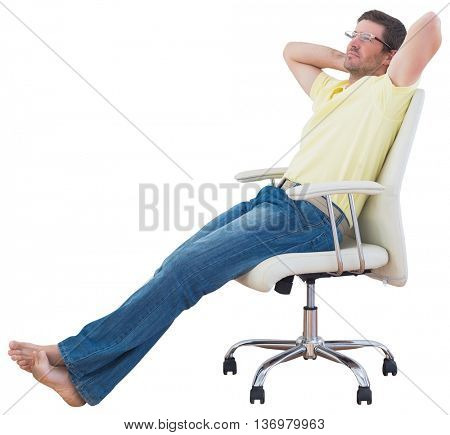 Relaxed man sitting on a swivel chair