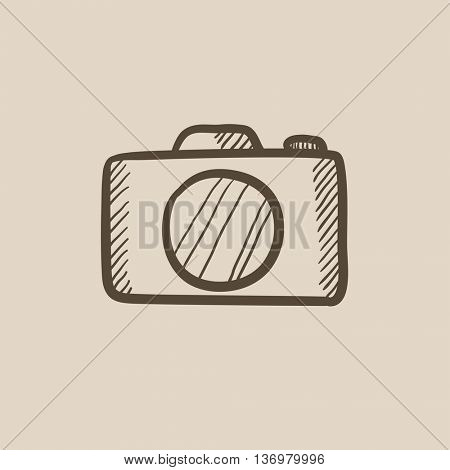 Camera vector sketch icon isolated on background. Hand drawn Camera icon. Camera sketch icon for infographic, website or app.