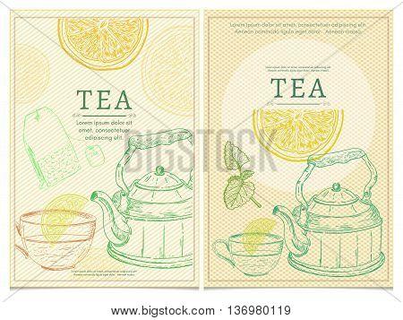 Tea party template tea vector set tea