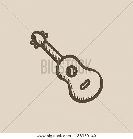 Guitar vector sketch icon isolated on background. Hand drawn Guitar icon. Guitar sketch icon for infographic, website or app.
