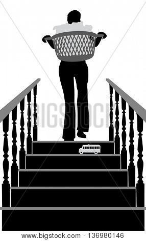 Editable vector silhouette of a woman carrying laundry in danger of stepping on a toy at the top of the stairs with elements as separate objects
