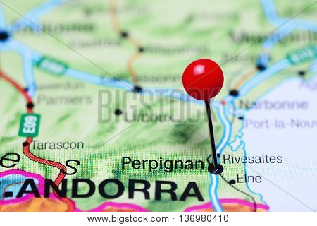 Perpignan pinned on a map of France