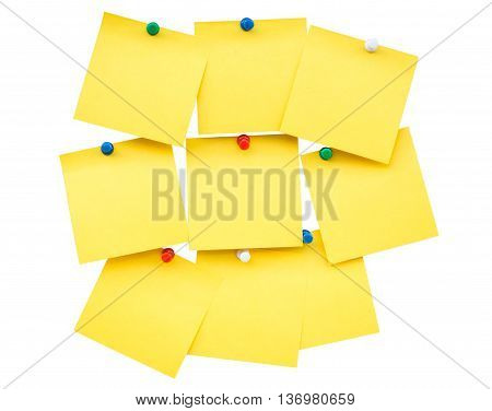 Sticky Yellow Blank Note And Pin On Isolated With Clipping Path.