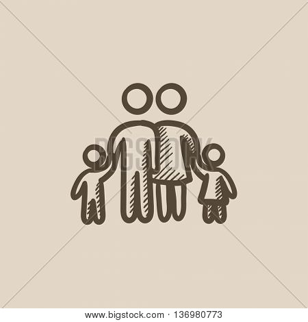 Family vector sketch icon isolated on background. Hand drawn Family icon. Family sketch icon for infographic, website or app.