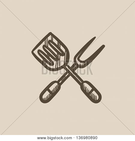 Kitchen spatula and big fork vector sketch icon isolated on background. Hand drawn Kitchen spatula and big fork icon. Kitchen spatula and big fork sketch icon for infographic, website or app.