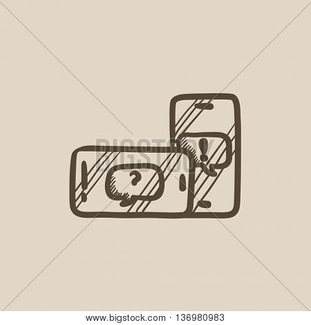 Smartphones with speech squares vector sketch icon isolated on background. Hand drawn smartphones with speech squares icon. Smartphones with speech squares sketch icon for infographic, website or app.