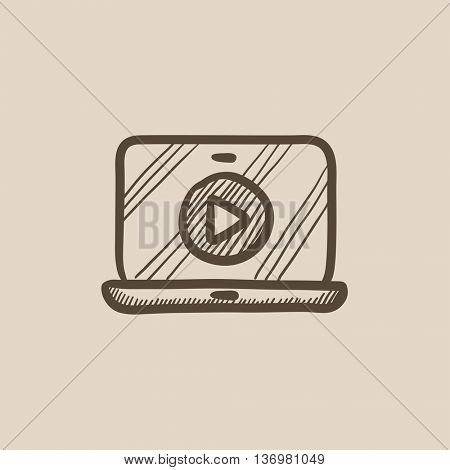 Laptop with play button on screen vector sketch icon isolated on background. Hand drawn Laptop with play button on screen icon. Laptop with play button sketch icon for infographic, website or app.