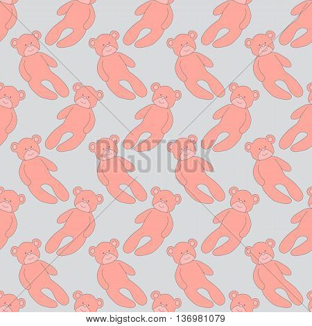 Seamless pattern with teddy bear, pink teddy bear on a light background