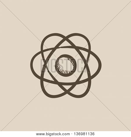 Atom vector sketch icon isolated on background. Hand drawn Atom icon. Atom sketch icon for infographic, website or app.
