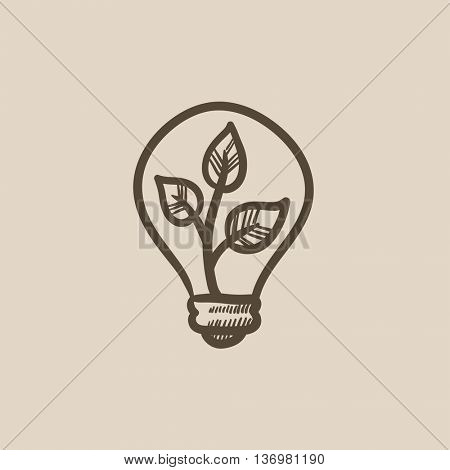 Lightbulb and plant inside vector sketch icon isolated on background. Hand drawn Lightbulb and plant inside icon. Lightbulb and plant inside sketch icon for infographic, website or app.