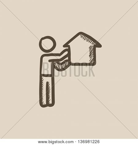 Real estate agent vector sketch icon isolated on background. Hand drawn Real estate agent icon. Real estate agent sketch icon for infographic, website or app.