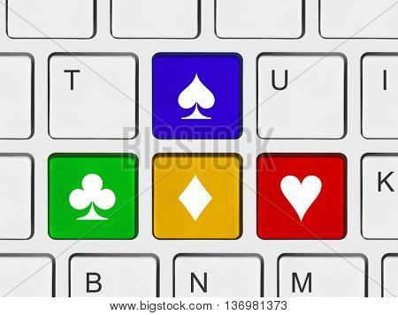 Computer keyboard with cards suit - technology background