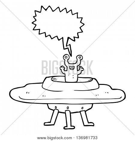 freehand drawn speech bubble cartoon flying saucer