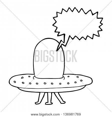 freehand drawn speech bubble cartoon spaceship