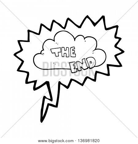 freehand drawn speech bubble cartoon The End symbol