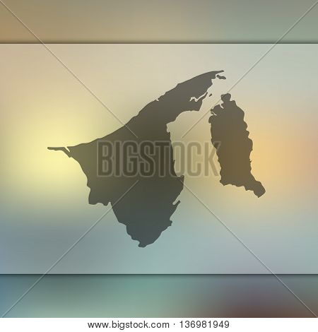 Brunei map on blurred background. Blurred background with silhouette of Brunei.