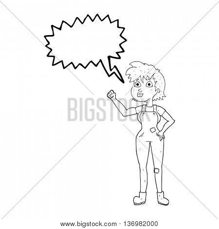 freehand drawn speech bubble cartoon confident farmer woman
