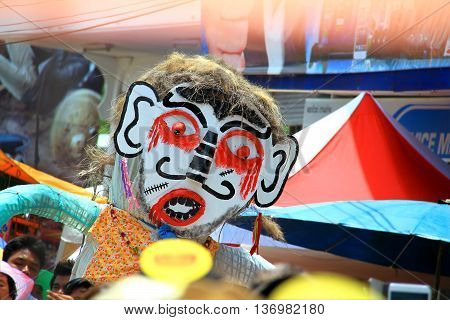 Loei province Thailand- June 28 2014: Unidentified man wear ghost costume at Phi Ta Khon or Ghost Festival at Dan Sai district Loei province Thailand.
