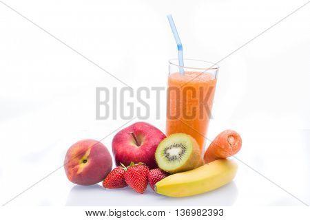 Fruit smoothies shakes over white background