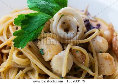 tasty lunch with seafood and pasta