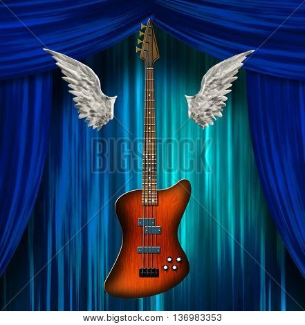 Base Guitar with wings 3D Render