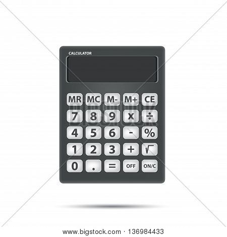 Vector Black calculator object for calculating on white background. Math and Object Concept.