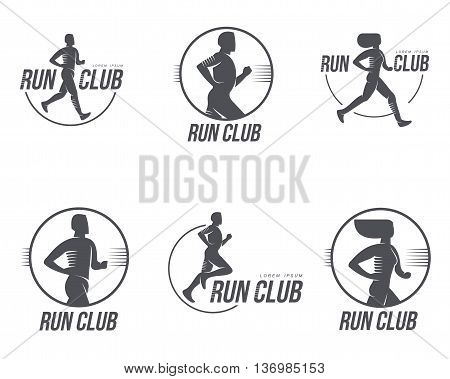 Set of running club logo templates. Vector black and white logo templates isolated on white background. Retro style run club badges for your design