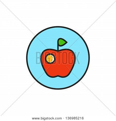 Apple in circle illustration. Vegan sign, fresh fruit, food. Vegetarian concept. Can be used for topics like vegetarianism, food, lifestyle