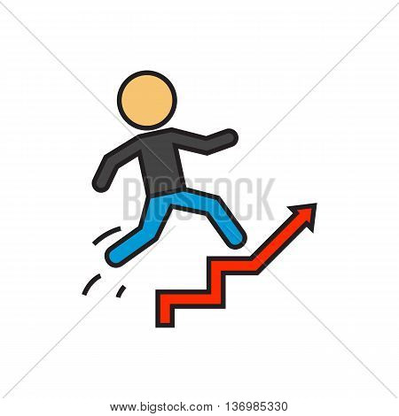 Man running up staircase. Career ladder, promotion, work. Career concept. Can be used for topics like career, work, promotion