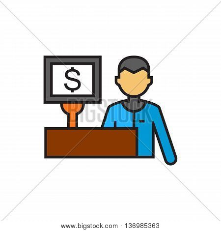 Cashier and cash register with dollar sign. Shopping, supermarket, service. Shopping concept. Can be used for topics like shopping, work, equipment