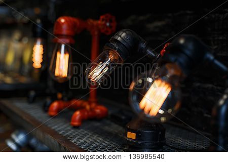 Vintage Light bulbs. The concept of electric energy