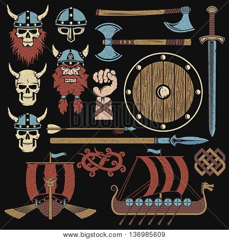 Viking elements vintage set. Set to create a Viking coat of arms.
