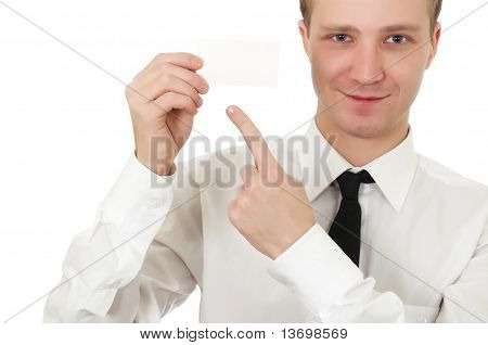 Man holding a card