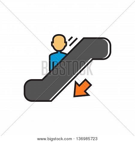 Man moving down on escalator. Staircase, walkway, transportation. Airport concept. Can be used for topics like airport, shopping, transport