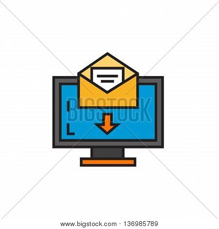 Computer monitor with e-mail letter. Electronic mail, Internet, correspondence, mailbox. Electronic mail concept. Can be used for topics like Internet, network, correspondence