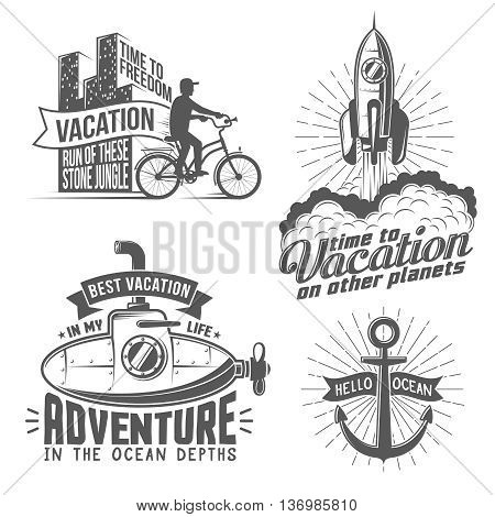 Unusual creative vacation logo with cyclist rocket submarine anchor - vintage style. All badges can be easily disassembled into separate elements.