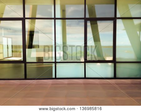 Blurred background modern office window glass plate or glass wall partition