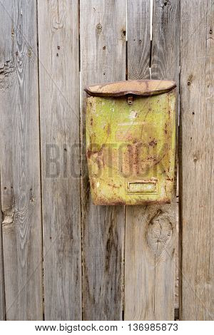 Old Green Rust Metal Postbox