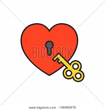 Heart-shaped padlock with key. Heart lock with key, love, opening. Love concept. Can be used for topics like love, Valetines day, secret