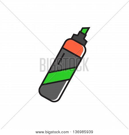 Highlighter  illustration. Felt-tip pen, stationery, school. Stationery concept. Can be used for topics like school, office, stationery