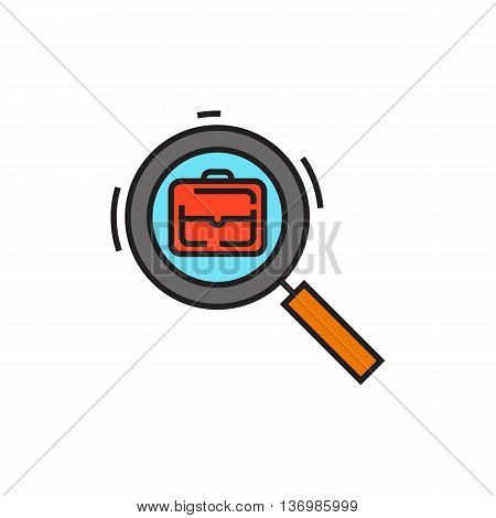 Briefcase viewed through magnifying glass. Job search, human resources, resume. Job search concept. Can be used for topics like employment, job, human resources