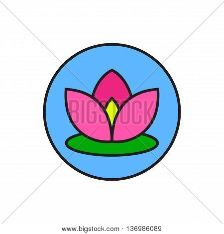 Illustration of flower in circle. Lotus, blossom, beauty. Flower concept. Can be used for topics like nature, meditation, harmony