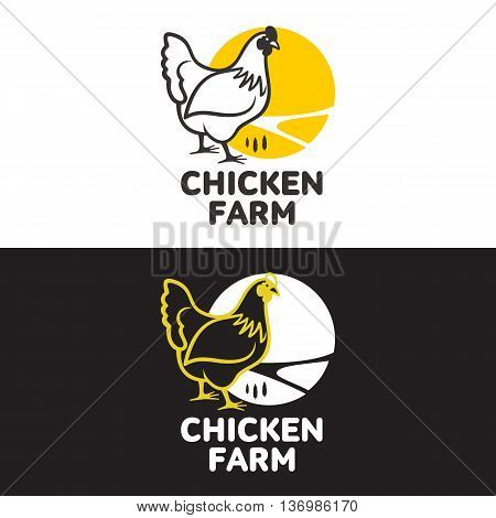 set of logos with chicken, illustration, isolated on a white background, with different logos chicken and yellow, simple logos about chicken, meat and eggs, the production of poultry meat