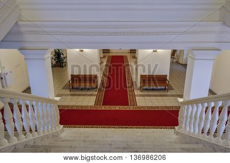 VELIKY NOVGOROD RUSSIA-JULY 1 2016. Entrance hall in the interior of the Art Museum of Veliky Novgorod architecture view