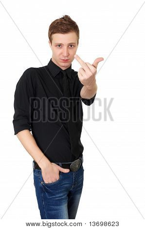 young male showing middle finger